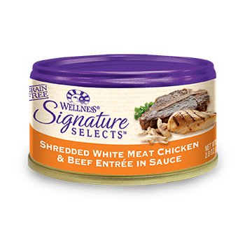 Wellness Signature Selects Grain Free Shredded White Meat Chicken & Beef Entree Canned Cat Food, 2.8 oz., Case of 24 (076344060024)