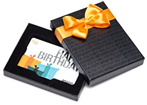 Amazon.com Black Gift Card Box - $50, Birthday Presents Card