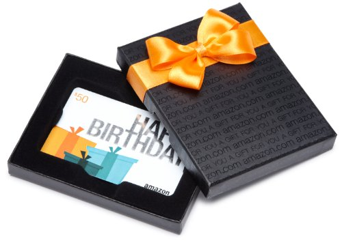 Amazon.com Black Gift Card Box – $50, Birthday Presents Card image
