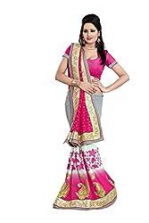 Radhe Krishna Creation Women's Faux Georgette Saree(RKC10,Pink)