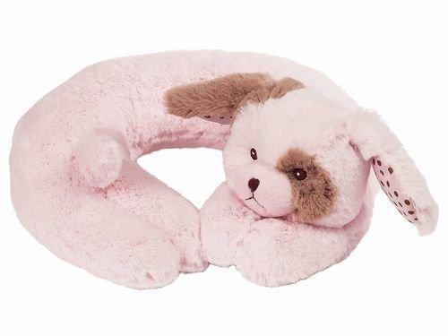 Bearington Bear Wiggle Pink Puppy Travel Pillow