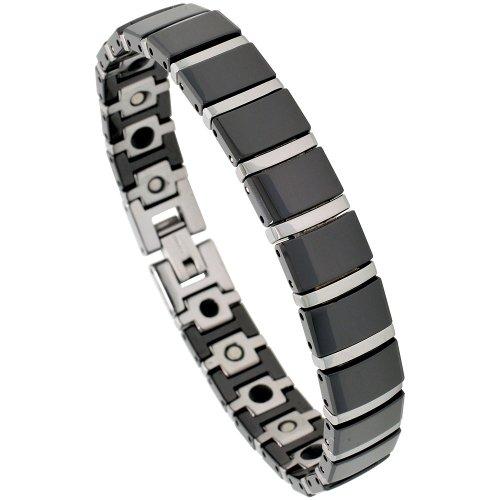 Sabrina Silver Tungsten & Ceramic 2-Tone (Black & Gun Metal) Bar Link Magnetic Bracelet, 3/8 in. (10mm) wide (BTN122)