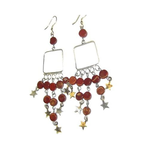 Jasper Earrings 05 Chandelier Goddess Square Red Star Crystal Stone 4
