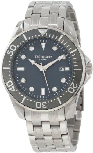 Rudiger Men's R2000-04-011 Chemnitz Grey IP Rotating Bezel Luminous Dial Watch