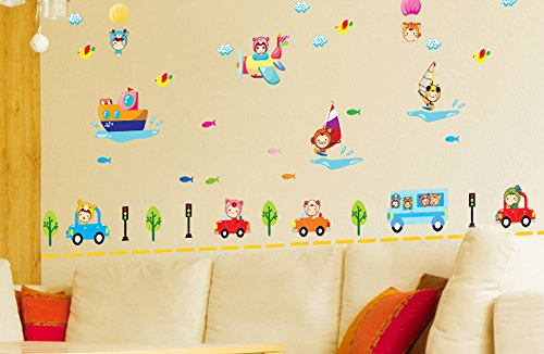ufengke cartoon baby gebrauchte flugzeuge und boote diy wandsticker kinderzimmer babyzimmer. Black Bedroom Furniture Sets. Home Design Ideas