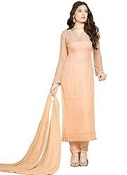 Rozdeal Designer Peach Chiffon Dress Material