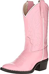 Girls Pink Leather Cowboy Boots, 13 M US Little Kid