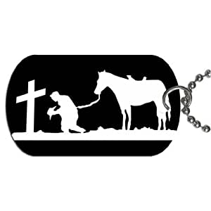 "Cowboy praying at cross Dog Tag with 30"" chain necklace Great Gift Idea"