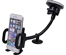 Car Mount - Universal Mobile Phone Holder with 360° Rotation Clever Grip & Gooseneck Long Arm for Windshield & Dashboard - Easy Reach & Sturdiest Model - Best Cradle Compatible with All Smartphone