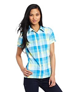 Columbia Women's Saturday Trail Plaid Short Sleeve Shirt, Large, Hyper Blue