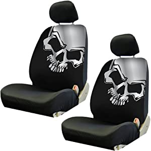 Front Low Back Car Truck SUV Bucket Seat Covers - Grey Skull - Pair by PlastiColor