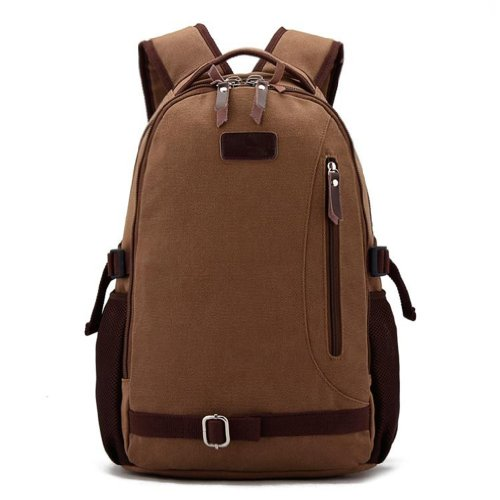 Men'S Retro Canvas Casual All Cotton Youth Laptop Computer Backpacks Travel Bag Pocket Coffe