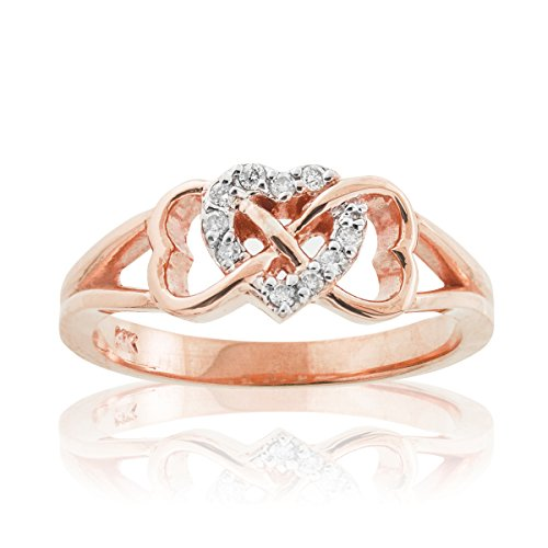 Solid 10K Rose Gold Diamond Triple Heart Infinity Ring (Size 6)