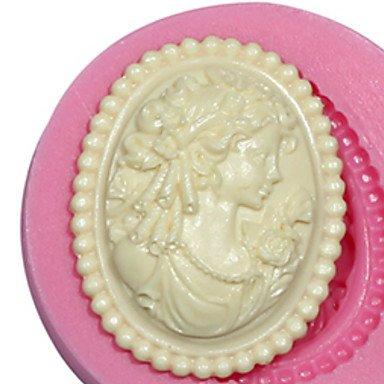 HEIHOME cameo femminile stampo in silicone stampo signora silicone per fondente pasta di fimo gum&cioccolato
