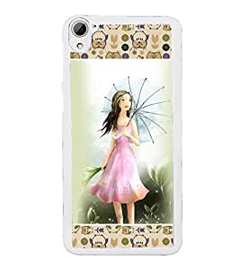 ifasho young Girl with umbrella Back Case Cover for HTC Desire 826
