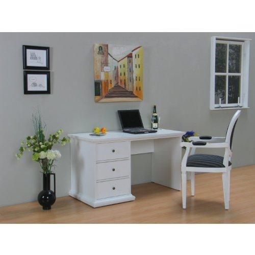 Schreibtisch PARIS Computertisch PC-Tisch Bürotisch Arbeitstisch weiß mit 3 Schubladen