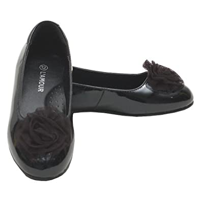 Amazon.com: L'Amour Girls Black Flower Slip On Dress Shoes ...