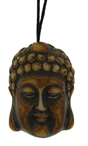 Resin Imitation Bone Pendant Buddha - Adjustable Cord - 40mm x 28.5mm