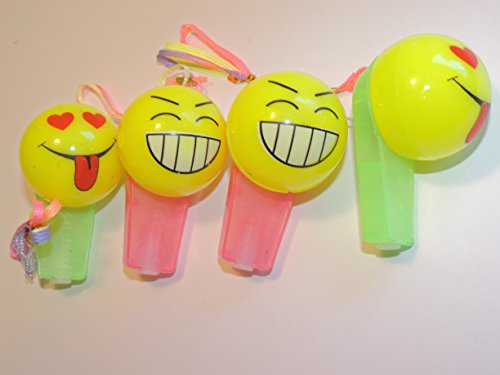 The Amazing Light-Up Happy Face Whistle - Makes A Great Stocking Stuffer! Set of 4