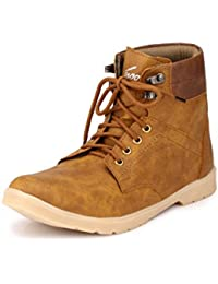 Knoos Men's Tan Synthetic Leather Trak Outdoor Casual Boots (NJ-01, Size: 9 UK/IND)-NJ-01-TAN-9