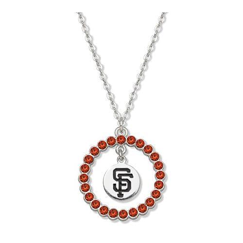 Mlb San Francisco Giants Necklace Orange Crystal Wreath