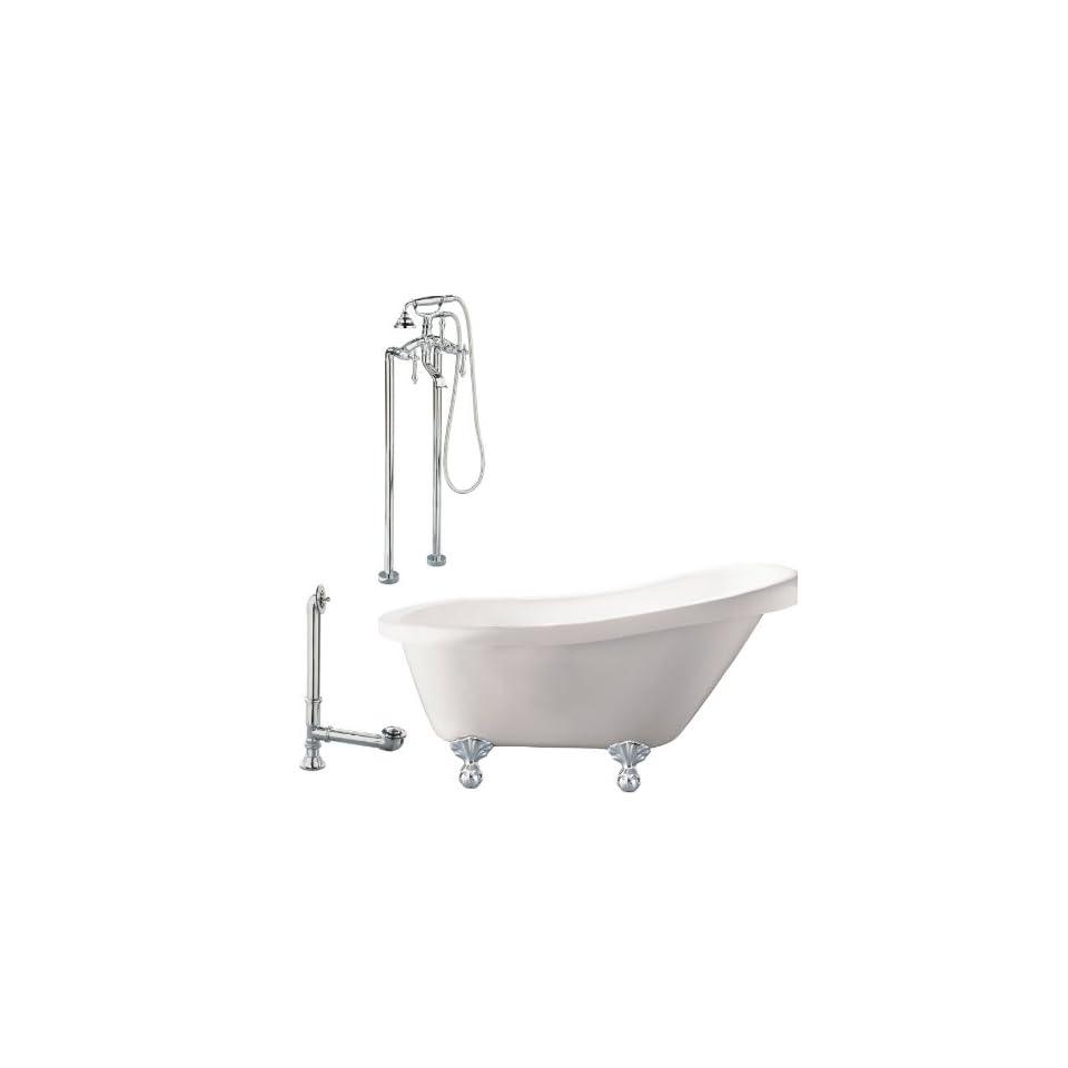30 1/3W White/Polished Chrome Clawfoot Tub LH2 PC