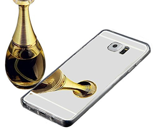 Galaxy Note 7 Mirror Glass Case-Auroralove Silver Slim Luxury Soft Crystal TPU Gel Silicone Bling Makeup Case for Samsung Note 7
