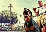 Grand Theft Auto 5 - GTA5 - Franklin - walking the dog - gaming - xbox - ps3 - A3 poster - print - picture