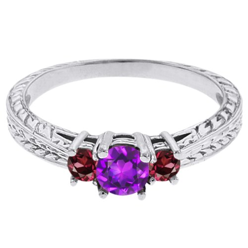 0.60 Ct Round Purple Amethyst Red Rhodolite Garnet 18K White Gold 3-Stone Ring