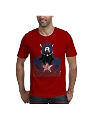 Tee-A-Tee 114 Captain America Unisex Cotton T-Shirt (Red)
