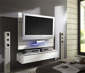 tv wand wandpaneel tv halterung mit lowboard glasboden weiss hochglanz. Black Bedroom Furniture Sets. Home Design Ideas