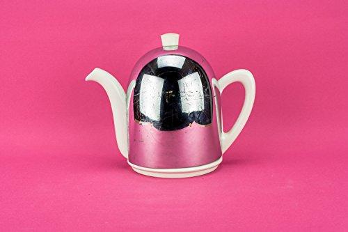 Slick Vintage COFFEE POT Pottery Small Unique Ever Hot Art Deco Silver Dome Gift Serving Circa 1950 English LS