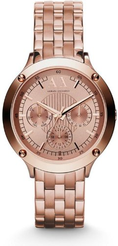 Armani Exchange Multi-Function Rose Dial Rose Gold Ion-plated Unisex Watch AX5403