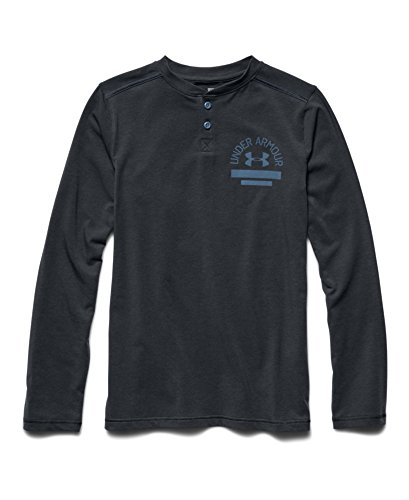 Under Armour Big Boys' UA Henley Long Sleeve Youth Small ANTHRACITE