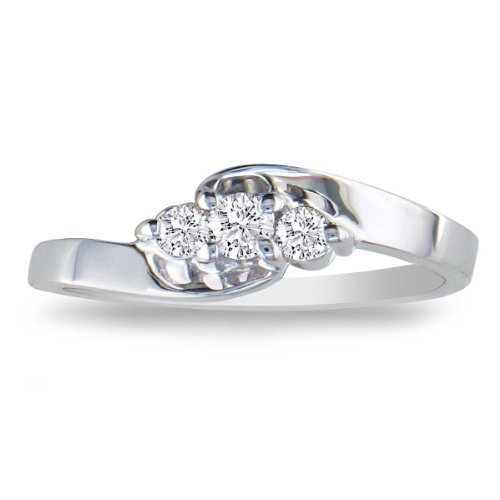 SuperJeweler 1/10ct Three-Stone Diamond Promise Ring in Sterling Silver