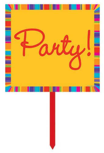 Creative Converting Birthday Stripes Plastic Yard Sign, 14 Inches