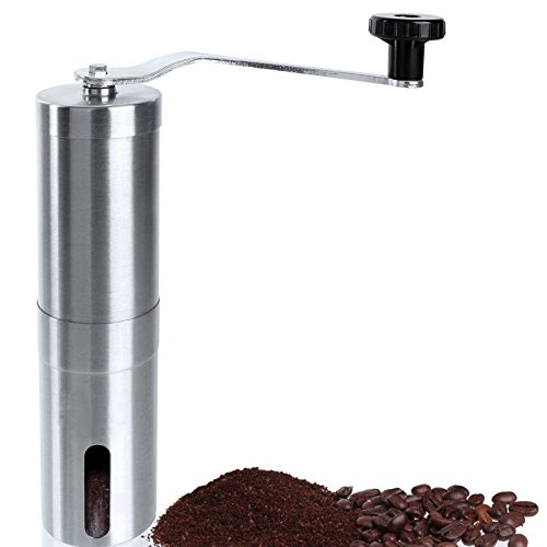 ShellMiMi Manual Coffee & Sea Salt Grinder with Ceramic Burr Stainless Steel Hand Coffee Mill