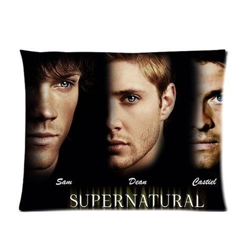 Butuku Top Hot Famous Tv Series Supernatural Dean Sam Winchester Angel Castiel Collage Pattern Black Personalized Custom Soft Pillow Case Cover 20X26 (One Side) front-566623