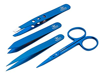 Precision Grooming Set - By Majestic Bombay - Professional Quality Stainless Steel Luxury Tweezers + Nail Scissor. Guaranteed for Life!