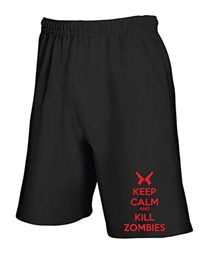T-Shirtshock - Pantalone Tuta Corto TZOM0041 keep calm and kill zombies , Taglia XL