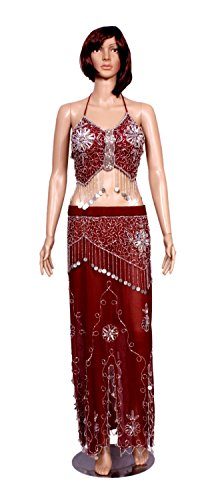 A 2pc Set of Red Hot Sexy Belly Dance Costume, Beaded Halter Top with Fringe and Full Wrap Skirt Set