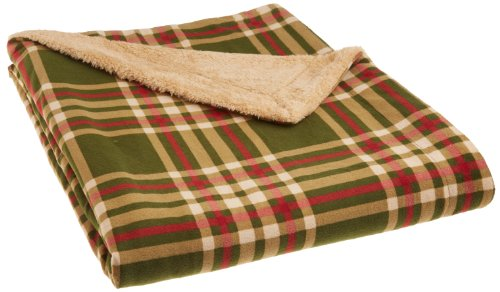 Northpoint Newport Rustic Plaid Rebersible Mink Fur Throw, Green front-804286