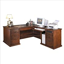 Big Sale Kathy Ireland Home by Martin Furniture Huntington Oxford L-Shape Wood Executive Computer Desk Set in Burnish
