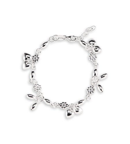 925 Sterling Silver Flower Heart Dangle Ankle Bracelet