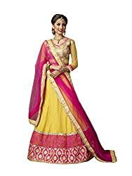 Yellow Net And Georgette Lehenga Choli