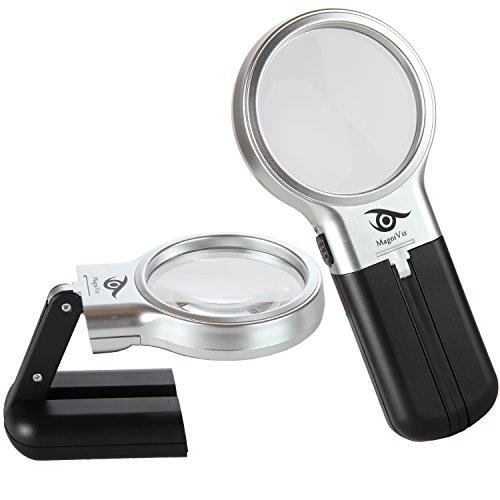 Magnifying Glass with Folding Stand and LED Light – Hand Held or Hands Free Portable Magnifier with 3x Magnification – Big Enough for Reading, Crafts & Hobbies – Full Warranty & Refund Guarantee!