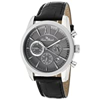 Lucien Piccard Men's 12356-014 Mulhacen Chronograph Grey Textured Dial Black Leather Watch from Lucien Piccard