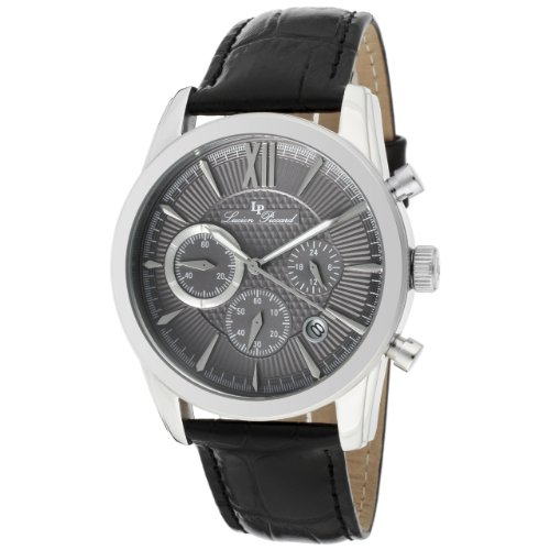 Lucien Piccard Men's 12356-014 Mulhacen Chronograph Grey Textured Dial Black Leather Watch