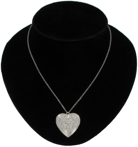 Silver Plated Metal Pendant Photo Locket Necklace Rose Heart