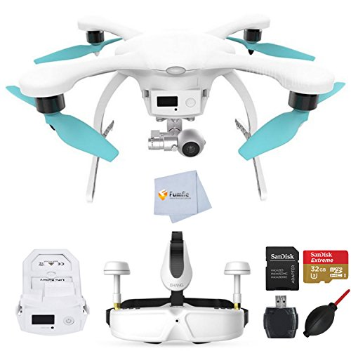 EHANG GHOSTDRONE 2.0 VR White/Blue Android Compatible RTF (Ready-To-Fly) bundle comes with Extra GHOSTDRONE 2.0 Smart Battery + SanDisk 32GB Extreme microSD + High Speed Card Reader & More!!!